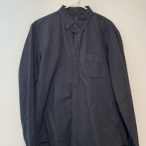 J. Crew Black Oxford Button Down Shirt. Slim Large